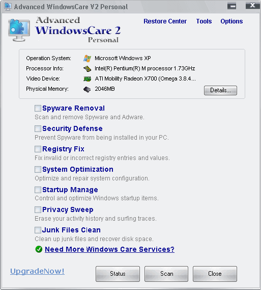 advanced windowscare 2 personal
